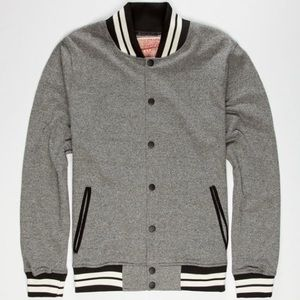Trademark Brooklyn Cloth Grey Black Varsity Jacket